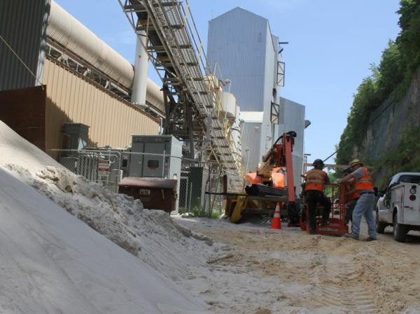 After the sand has been excavated, it's sent to a processing unit at the base  of the bluff where it's washed with water and sorted. The Pattison Sand Co. processing facility runs year round.
