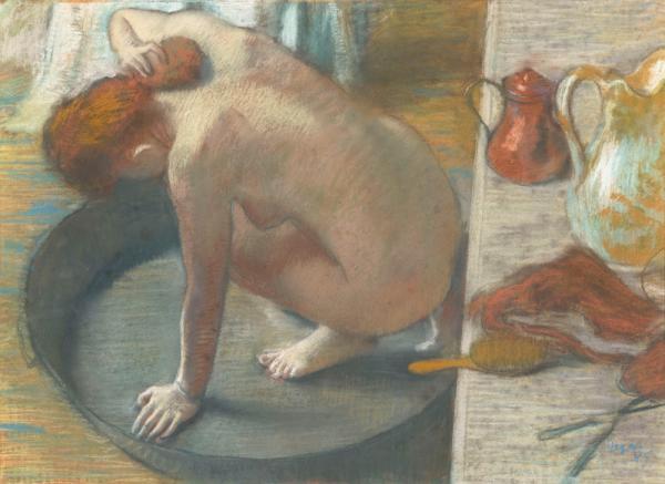 Degas' nudes — including his 1886 work, <em>The Tub --</em> depict the everyday awkwardness of real life<em>.</em>
