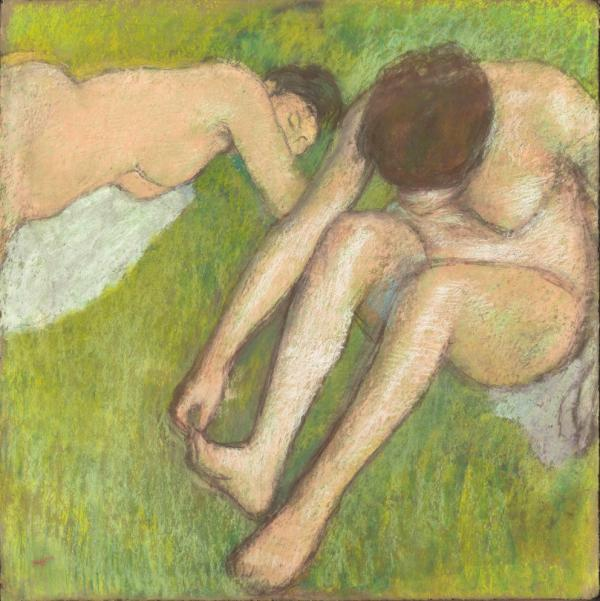 """<em>Two Bathers on the Grass </em>(1886-95) is one of the works featured in <a href=""""http://www.mfa.org/exhibitions/degas-and-nude"""">Degas and the Nude</a>. The exhibit is on display at the Boston Museum of Fine Arts through Feb. 5, 2012. The show then moves to Paris, from March 13 to July 1."""