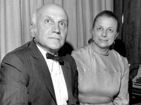 Human sexuality researchers William Masters and Virginia Johnson Masters, shown in San Francisco in 1972.