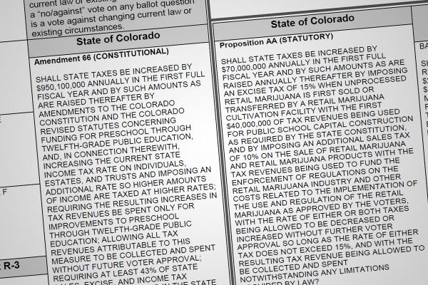 Colorado Voters statewide spoke overwhelmingly on two tax initiatives. Recreational marijuana taxes passed, while the education tax was struck down.
