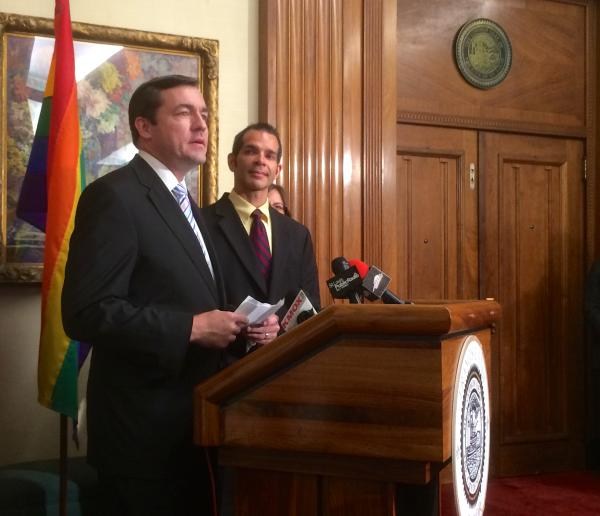 Tod Martin, left, and David Gray speak at a press conference last week. St. Louis officials married the couple last week, sparking a challenge -- and public reflection -- of the state's gay marraige ban.