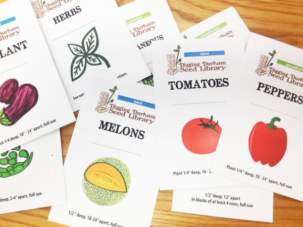 Funded by Durham Library Foundation, the Digging Durham Seed Library packets give the gardener basic planting information.