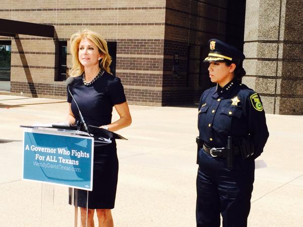 Gubernatorial Candidate Wendy Davis appeared with Dallas County Constable Beth Villareal at the Frank Crowley Courts building in Dallas.