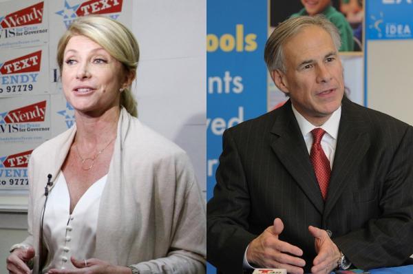 Gubernatorial candidates Wendy Davis (D) and Greg Abbott (R)