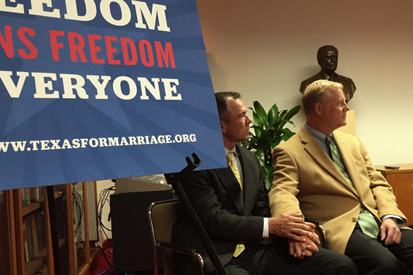 Vic Holmes and Mark Phariss are plaintiffs in a lawsuit challenging Texas' same-sex marriage ban. They spoke at a Freedom to Marry event at the LBJ Library on Dec. 15, 2014.