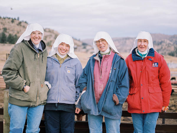 Benedectine nuns blend work and prayer on a farm run by the Abbey of St. Walburga near the Colorado-Wyoming border. From left are sisters Maria-Gertrude Reed, Ann Lee, Maria-Walburga Schortemeyer and Elizabeth Baumgartner.