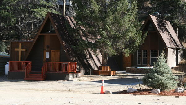 Chapel of the Interlude includes a tiny sanctuary (left) and a fellowship hall (right) for gatherings. Both were severely damaged by 2013 floods in Colorado.