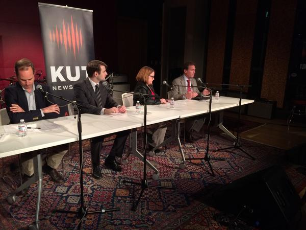L-R: Tim Eaton, Prof. Sam Richardson, Bee Moorhead and Rep. John Zerwas discussed the Affordable Care Act at KUT on Nov. 18, 2014.
