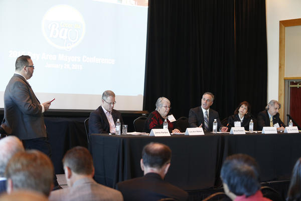 The Cover the Bay conference featured from left: Jamie Harden, Lou Ann Watson, Bruce Rueben, Anne Drake McMullen and Jay Wolfson