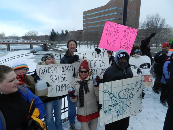 Flint residents protest water quality issues that have plagued them since the city switched to Flint River water in April.
