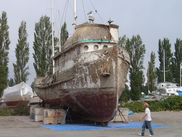 The Western Flyer currently rests in dry storage at the Port of Port Townsend as seen in this 2013 photo.