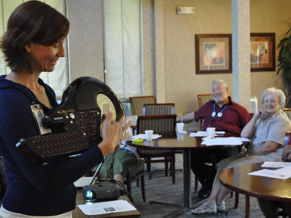 Julie Martin, a certified music therapist, works with patients living with Alzheimer's disease.