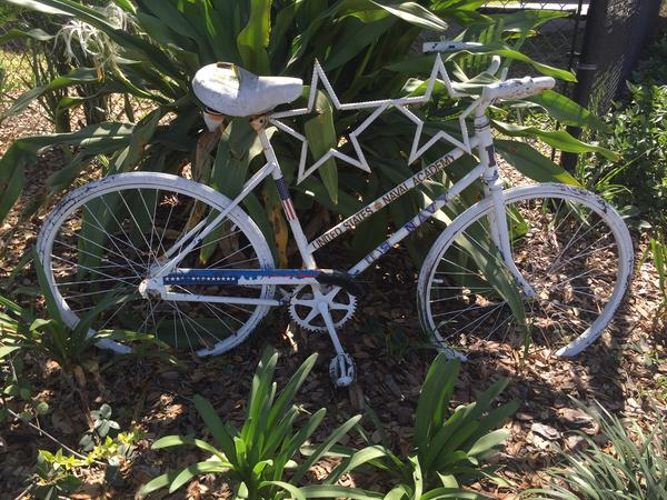 "This memorial 'ghost bike' in downtown Tampa remembers LeRoy ""Roy"" Collins Jr., a former two-star admiral killed while cycling in 2010."