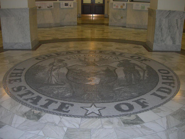 File photo of the Idaho Great Seal inside the capitol building in Boise.