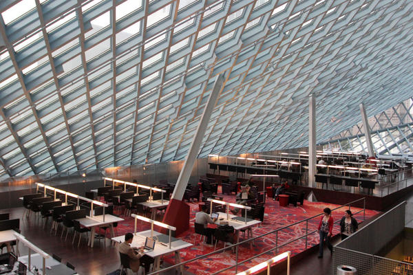 Interior of the Seattle Central Library in downtown Seattle. The $165 million building's unusual design and decoration attracts visitors from all over the world. (Manuel Valdes/AP)