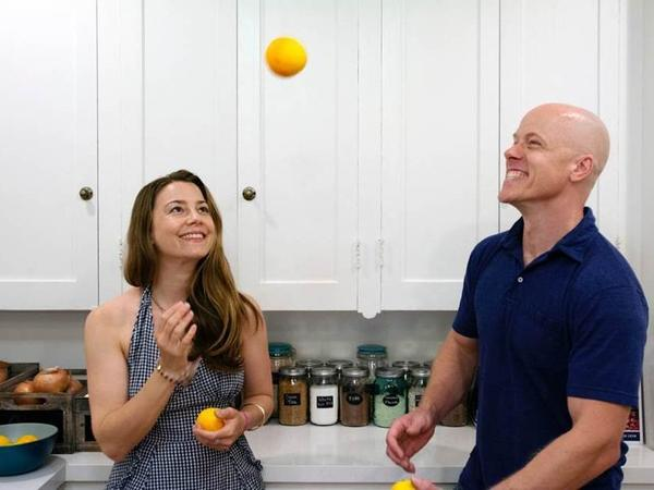 Sarah Forman and chef Nathan Lyon in the kitchen.