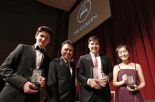 From left: Arseni Mun, second place winner; Jon Nakamatsu, jury chair (and Cliburn gold medalist); Alim Beisembayev, first place winner; and Youlan Ji, third place winner at the first Cliburn International Junior Piano competition.