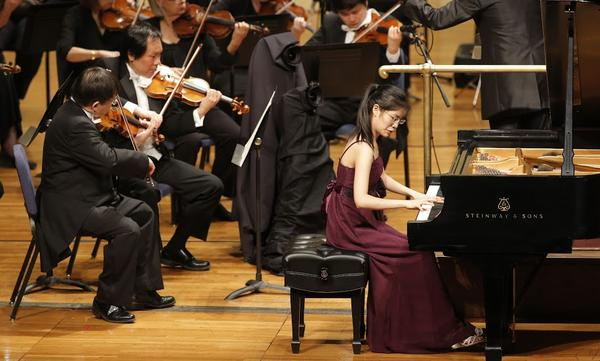 Third place winner Youlan Ji at the piano Sunday with the Fort Worth Symphony.