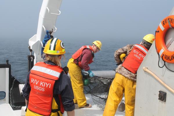 Crew members of the R/V Kiyi prepare the trawl net.