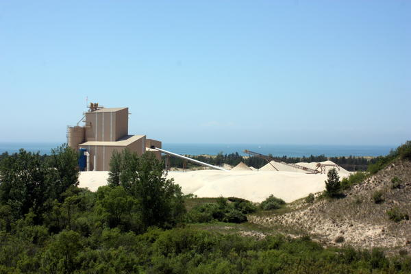 The sand mine next to Lake Michigan, surrounded by Ludington State Park.