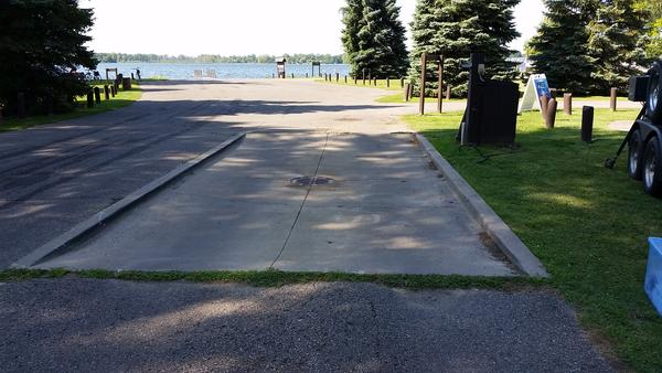 There's a boat washing station at Lake Lansing, but it hasn't been working lately. Here, you can see the drain pad - wash water drains to the sanitary sewer.