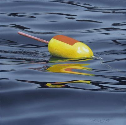 """Yellow with Red Buoy,"" Thomas Crotty, Oil, 9 x 9."