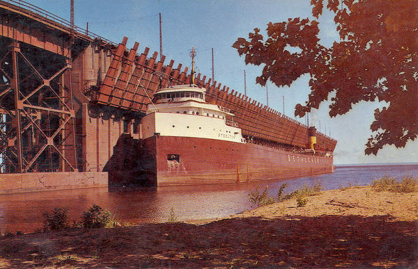 Great Lakes freighter ore carrier SS Steelton Bethlehem Steel at Lake Superior and Ishpeming Railroad Company Ore Docks Marquette, Michigan. Postcard date unknown.