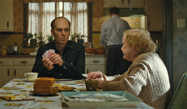 """Johnny Depp as Whitey Bulger with Mary Klug, who plays Ma Bulger, in """"Black Mass."""" (Courtesy Warner Bros. Entertainment)"""