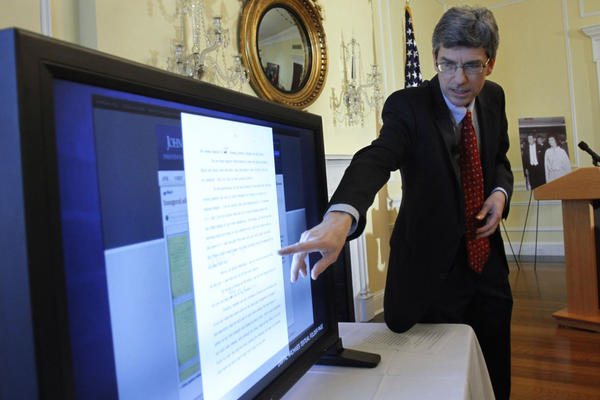 The resignation of Thomas Putnam, pictured here demonstrating the JFK Digital Archive in 2011, is the latest in a string of departures that coincide with the tenure of Heather Campion, the CEO of the John F. Kennedy Library Foundation. (Jacquelyn Martin/AP)