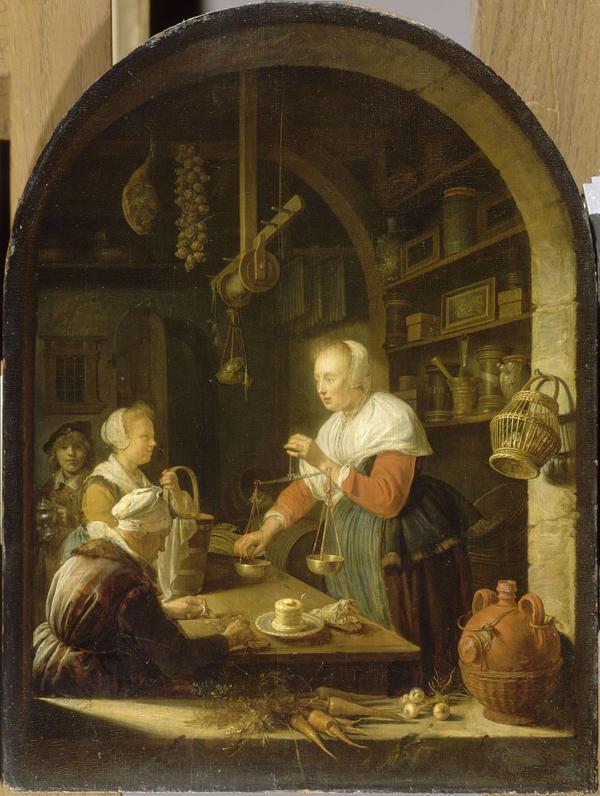 """""""Grocery Shop,"""" Gerrit Dou, 1647 (Courtesy Musée du Louvre, Paris/MFA Boston)"""