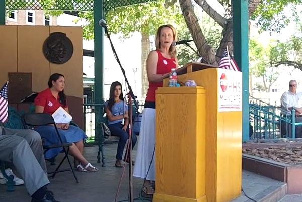Laura McIntyre at a rally in El Paso on June 8, 2012.
