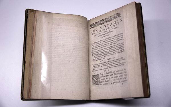 """Champlain's map was taken from this book, """"Les Voyages du Sieur de Champlain,"""" published in Paris in 1613. (Robin Lubbock/WBUR)"""