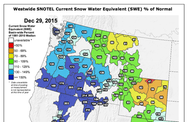 <p>The December 2015 snowpack is above average throughout Oregon and Washington, according to latest estimates from the National Weather Service in Portland.</p>