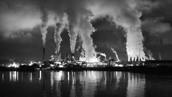 <p>Smoke stacks during a night scene in Tacoma, Wash.</p>