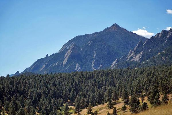 Colorado has plentiful outdoor recreation opportunities, like the Flatirons in Boulder, seen here from the Enchanted Mesa Trail.