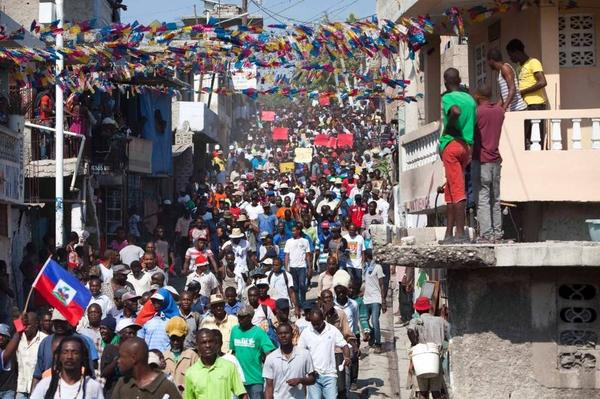 Haitians protest their electoral system this week.