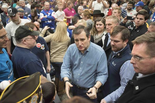 Sen. Ted Cruz at an event in Sioux City, Iowa, on January 29, 2016.