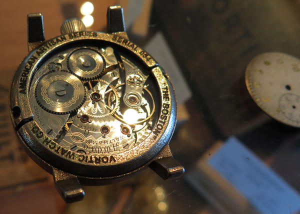 A Waltham-made timepiece in one of Vortic Watch Company's watches. (Curt Nickisch/WBUR)