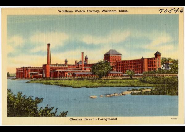 A postcard showing the Waltham Watch Factor circa 1930-'45. (Digital Commonwealth)