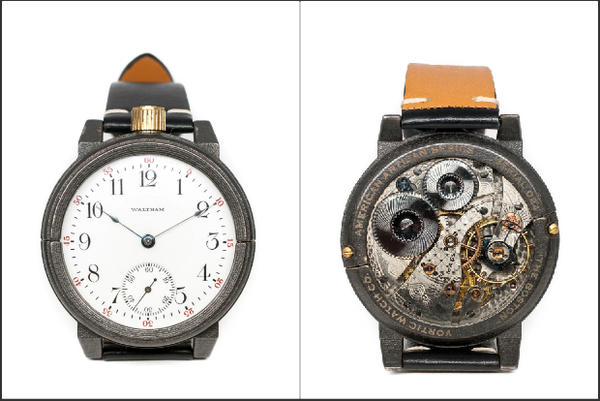 Two watches embossed to indicate their local ties. (Courtesy Vortic Watch Company)