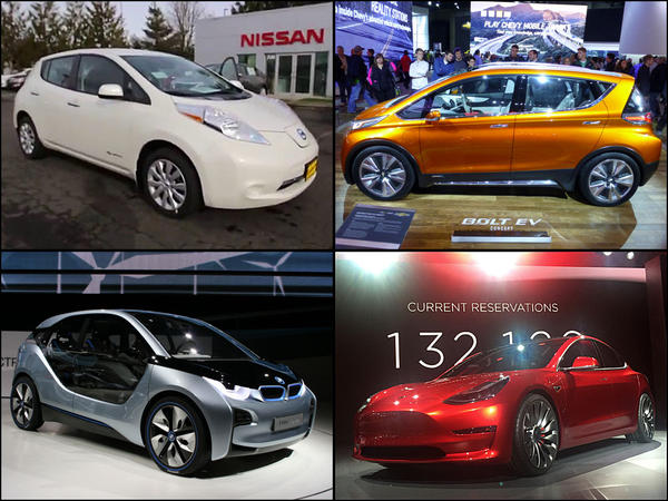 File photos of mid-market electric cars clockwise from top left: Nissan Leaf, Chevy Bolt, Tesla Model 3 and BMW i3.