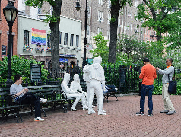 Christopher Park, located across the street from the Stonewall Inn, at the intersection of Christopher, Grove and W. 4th Streets in Greenwich Village.