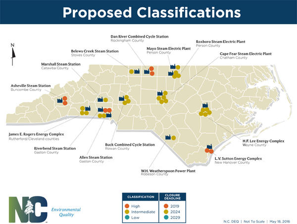 Map shows DEQ's final risk classifications for Duke Energy's coal ash basins around the state.