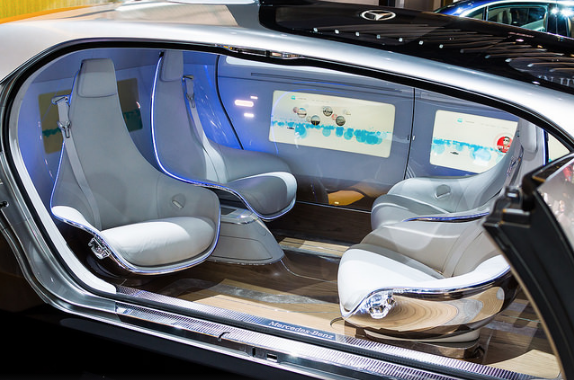 A Mercedes-Benz F 015 Luxury in Motion self-driving research vehicle.
