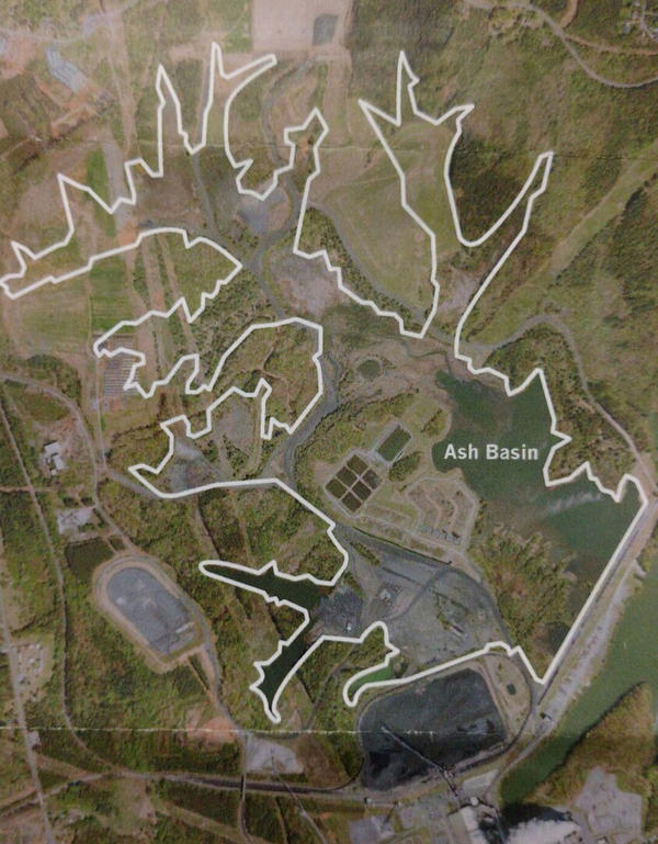 Map shows the coal ash basin at Marshall, which is several hundred acres.
