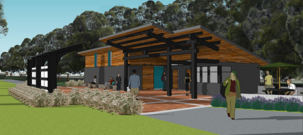 Rendering of visitor center, east side