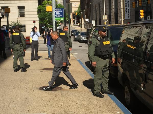 Officer Caesar Goodson arriving to court Friday