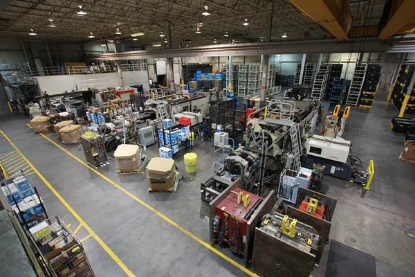 The warehouse at Cascade Engineering in Grand Rapids, Mich.
