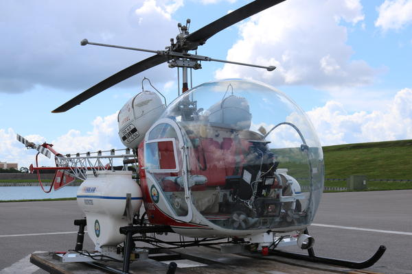The Bell 47 helicopter used by Mosquito Control to spray insecticide in places difficult to reach on foot or in a vehicle.